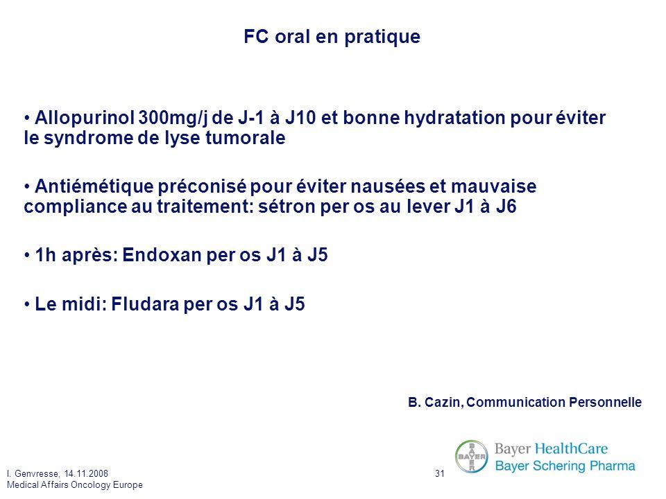 FC oral en pratique Allopurinol 300mg/j de J-1 à J10 et bonne hydratation pour éviter le syndrome de lyse tumorale.