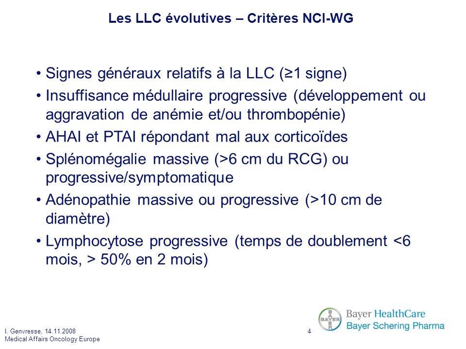 Les LLC évolutives – Critères NCI-WG