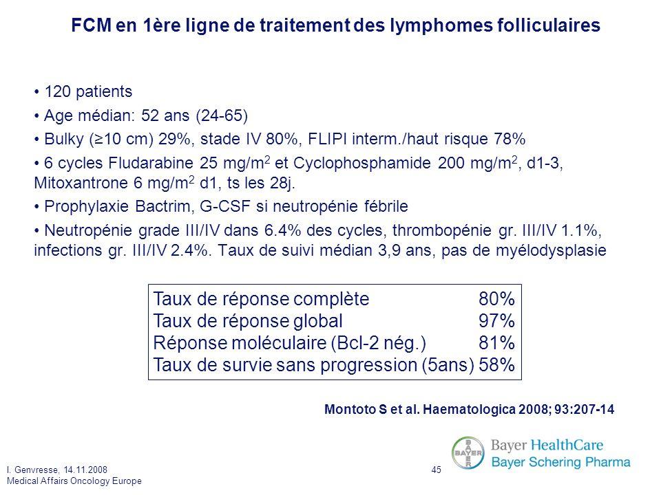 FCM en 1ère ligne de traitement des lymphomes folliculaires
