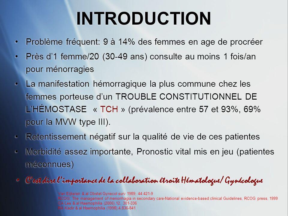 INTRODUCTION Problème fréquent: 9 à 14% des femmes en age de procréer. Près d'1 femme/20 (30-49 ans) consulte au moins 1 fois/an pour ménorragies.
