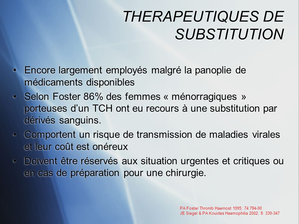 THERAPEUTIQUES DE SUBSTITUTION