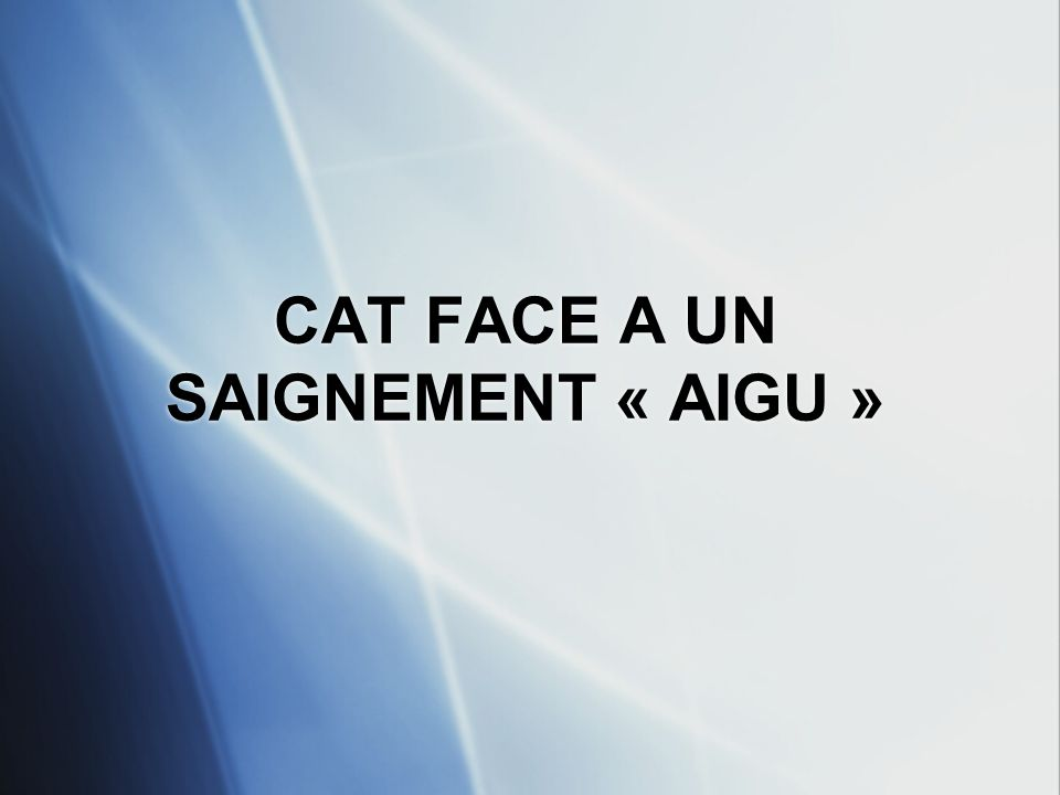 CAT FACE A UN SAIGNEMENT « AIGU »