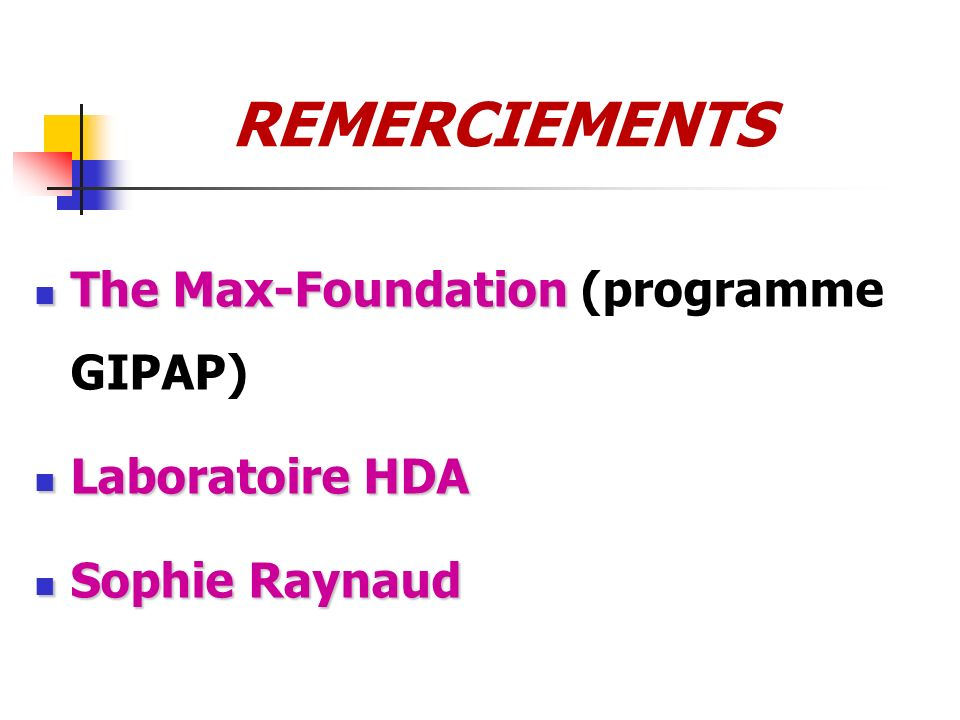 REMERCIEMENTS The Max-Foundation (programme GIPAP) Laboratoire HDA