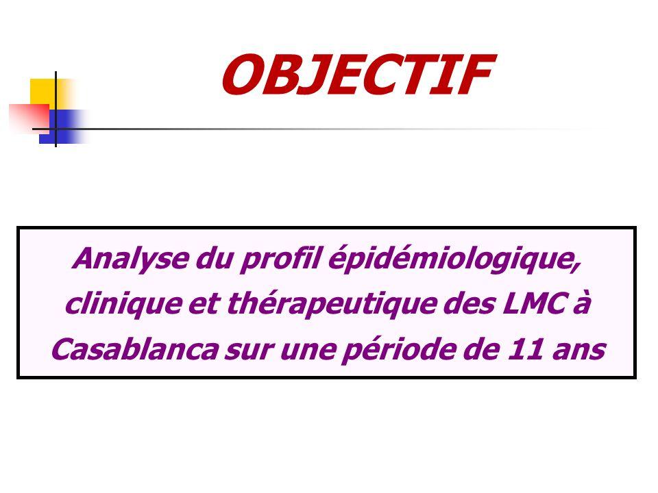 OBJECTIFAnalyse du profil épidémiologique, clinique et thérapeutique des LMC à Casablanca sur une période de 11 ans.