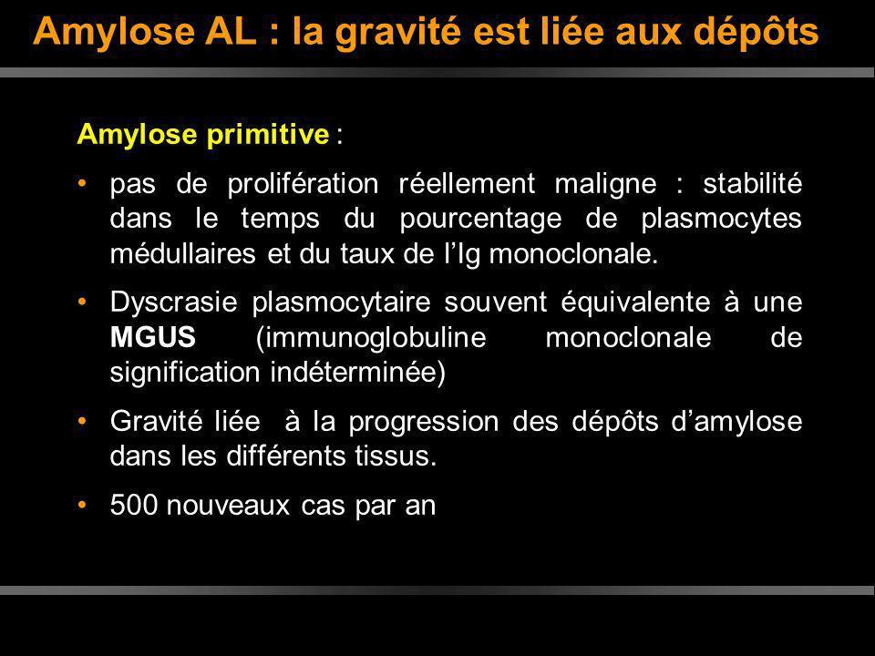 Amylose AL : la gravité est liée aux dépôts