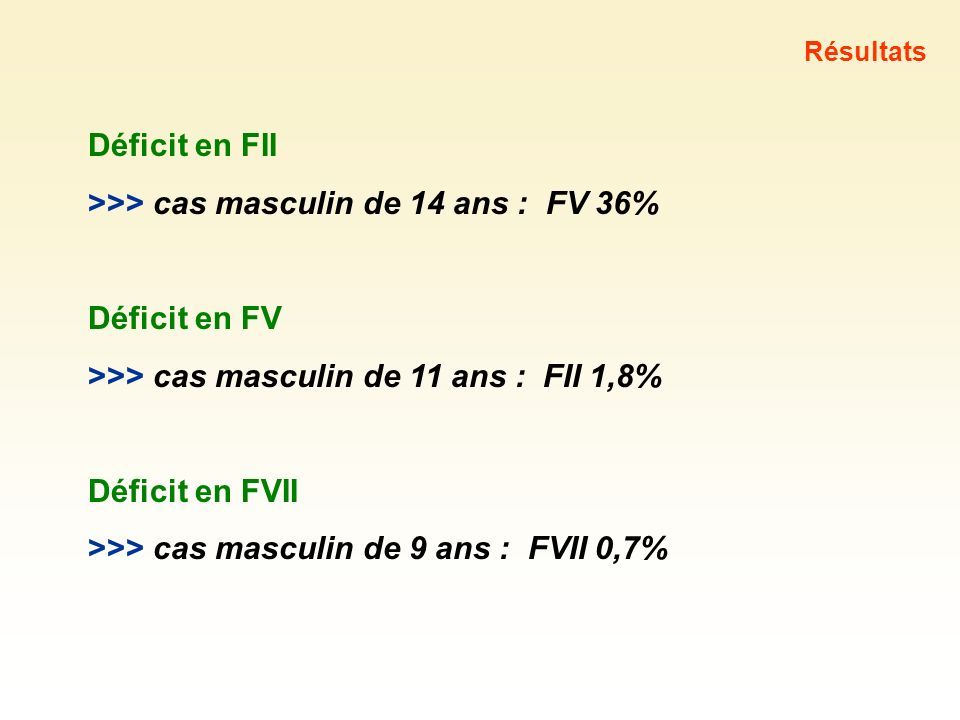 >>> cas masculin de 14 ans : FV 36%