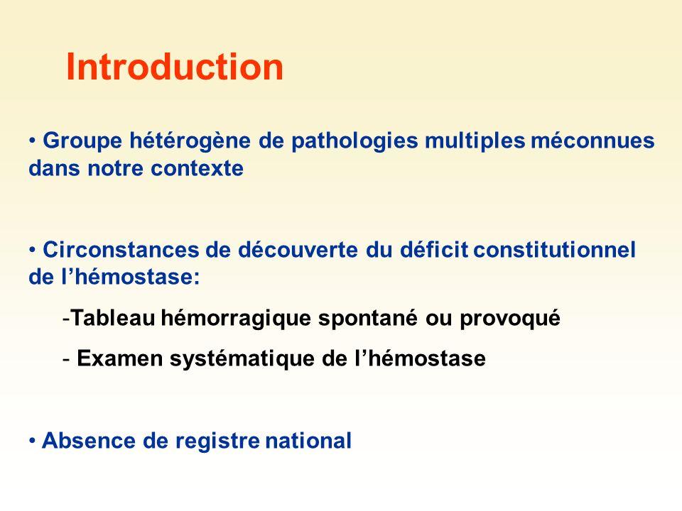 Introduction Groupe hétérogène de pathologies multiples méconnues dans notre contexte.