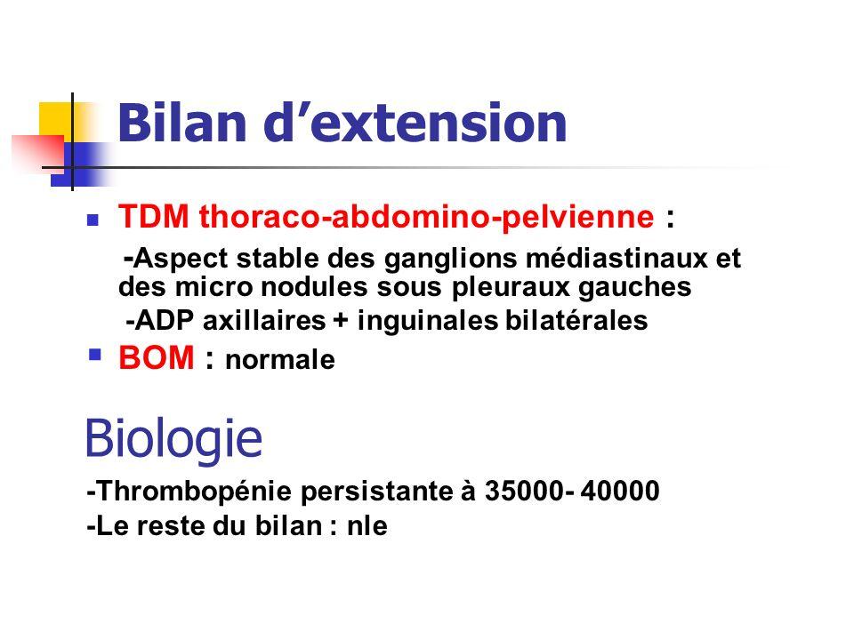 Bilan d'extension TDM thoraco-abdomino-pelvienne :