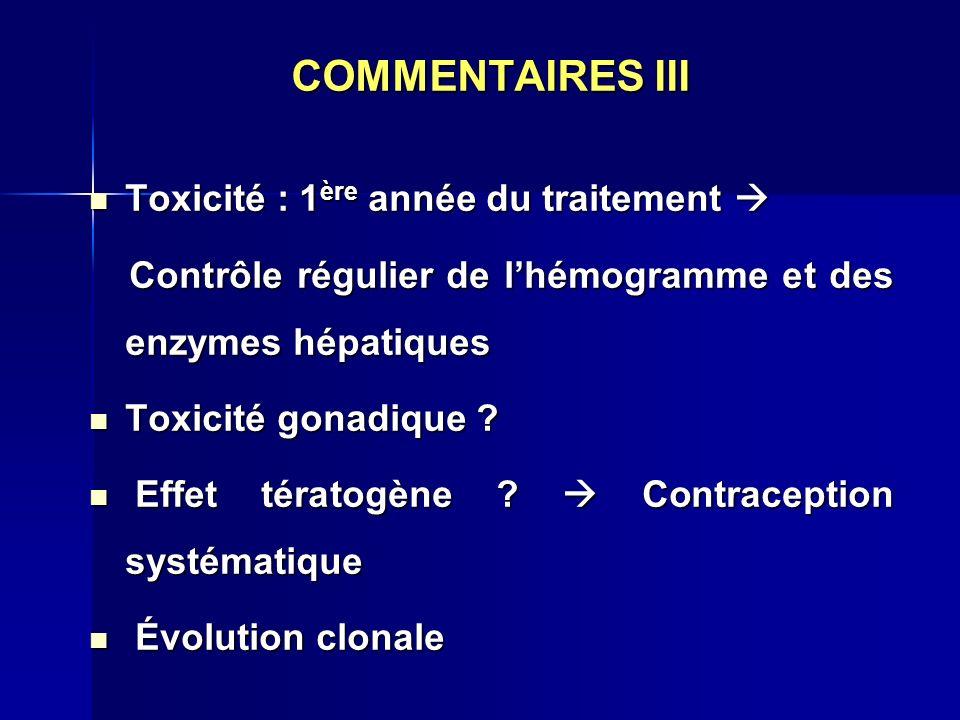 COMMENTAIRES III Toxicité : 1ère année du traitement 