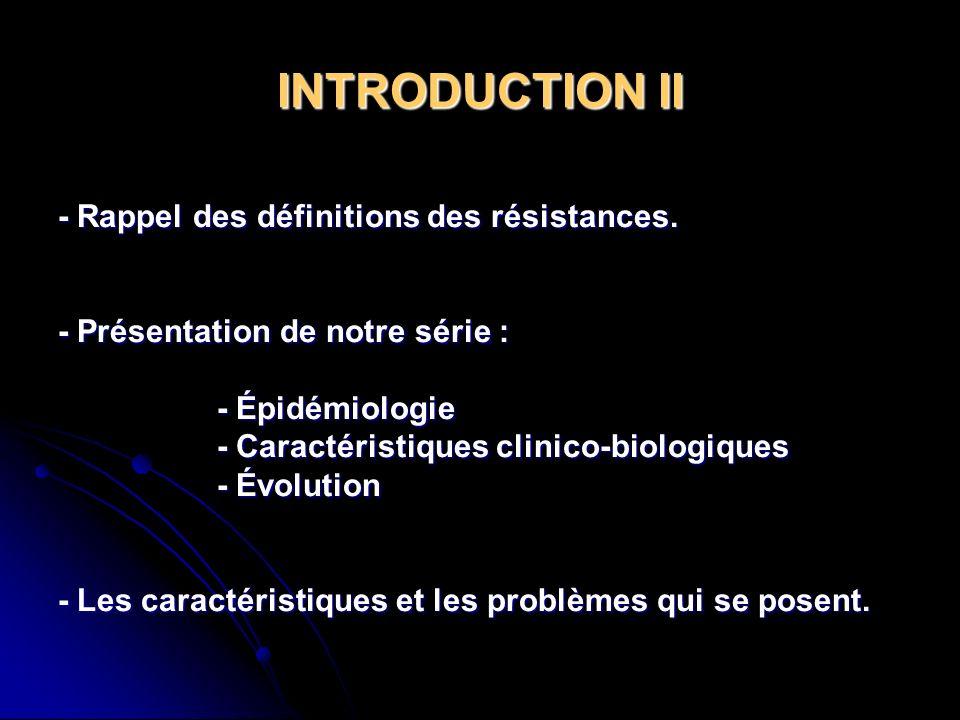 INTRODUCTION II - Rappel des définitions des résistances.