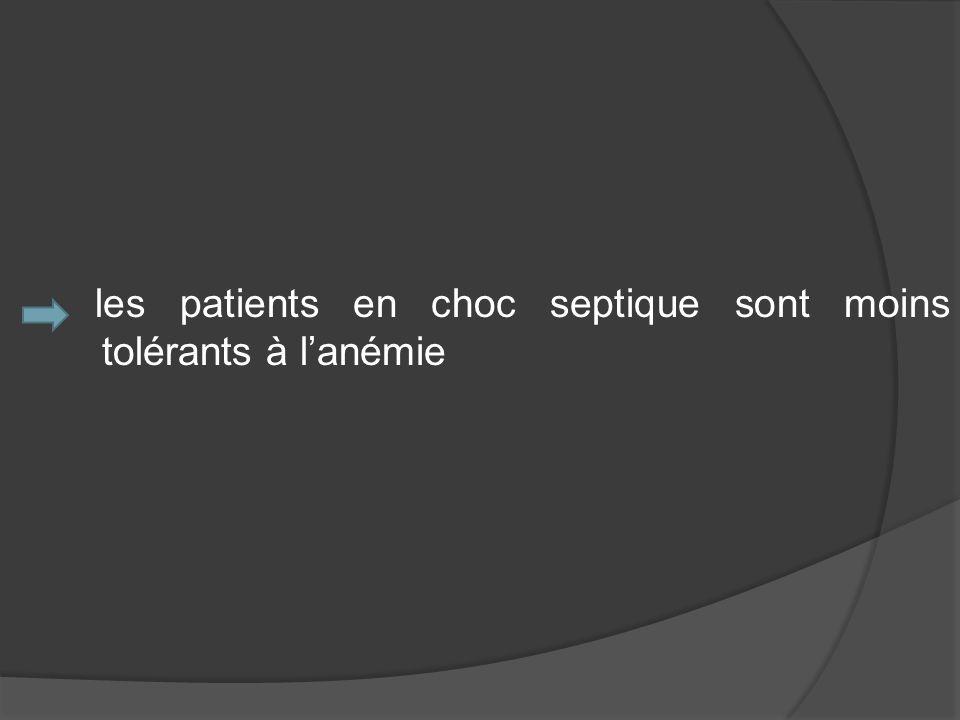les patients en choc septique sont moins tolérants à l'anémie