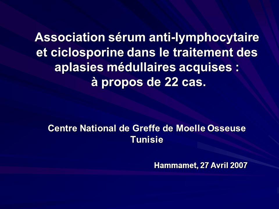 Association sérum anti-lymphocytaire et ciclosporine dans le traitement des aplasies médullaires acquises : à propos de 22 cas.