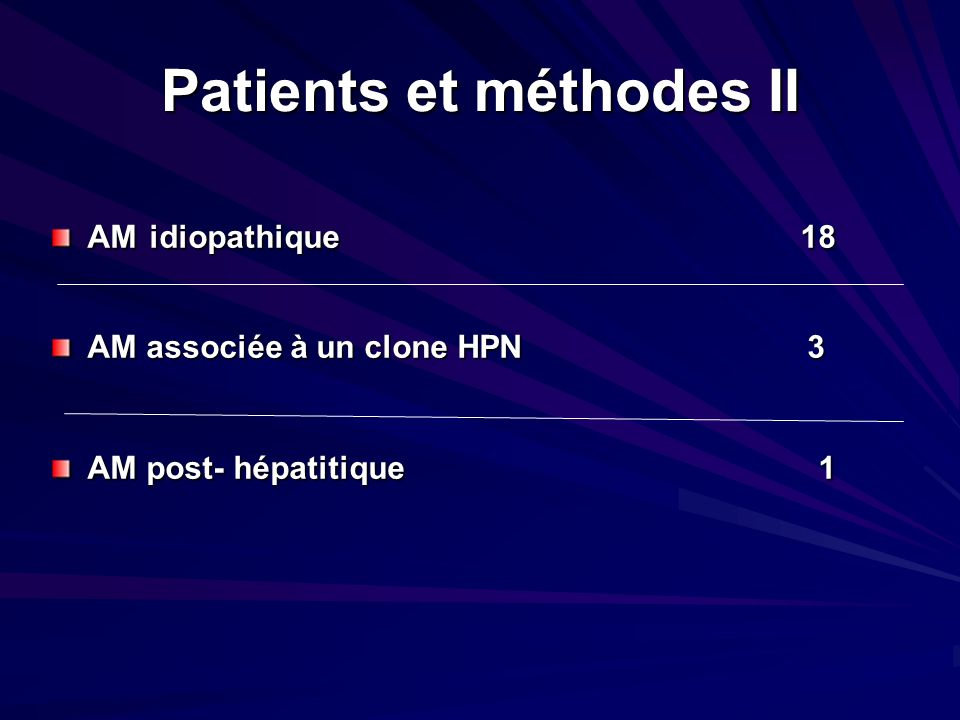 Patients et méthodes II