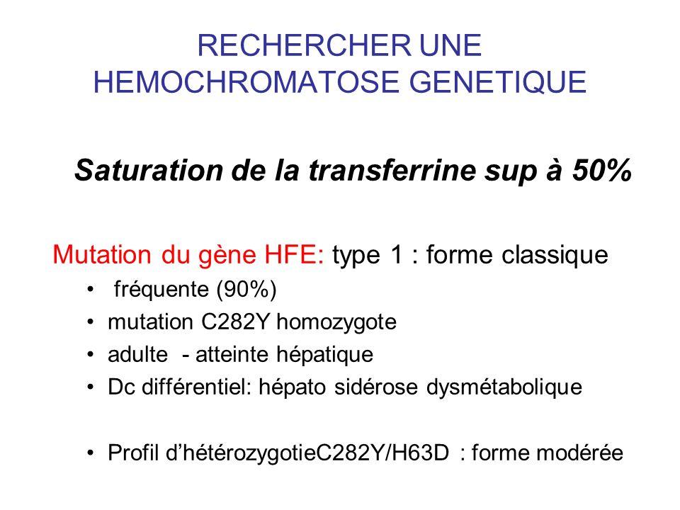 RECHERCHER UNE HEMOCHROMATOSE GENETIQUE