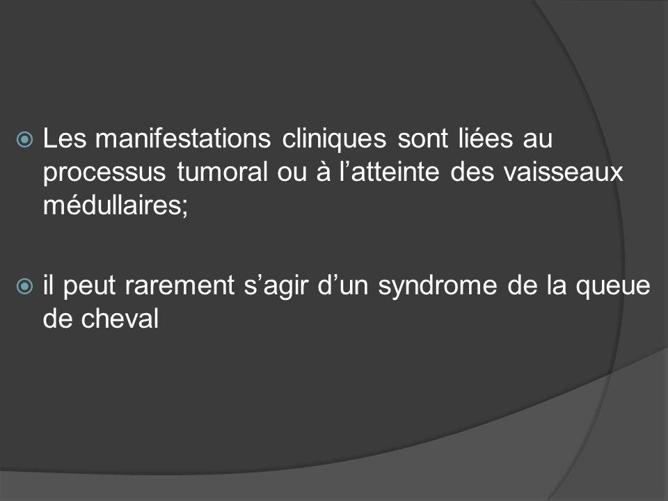 Les manifestations cliniques sont liées au processus tumoral ou à l'atteinte des vaisseaux médullaires;