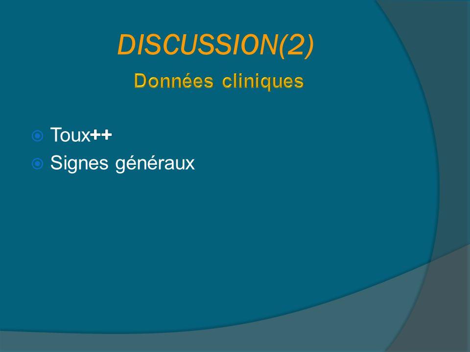 DISCUSSION(2) Données cliniques Toux++ Signes généraux