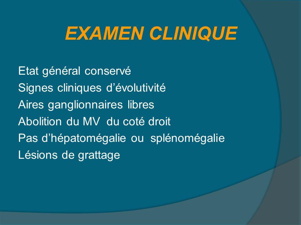 EXAMEN CLINIQUE Etat général conservé Signes cliniques d'évolutivité