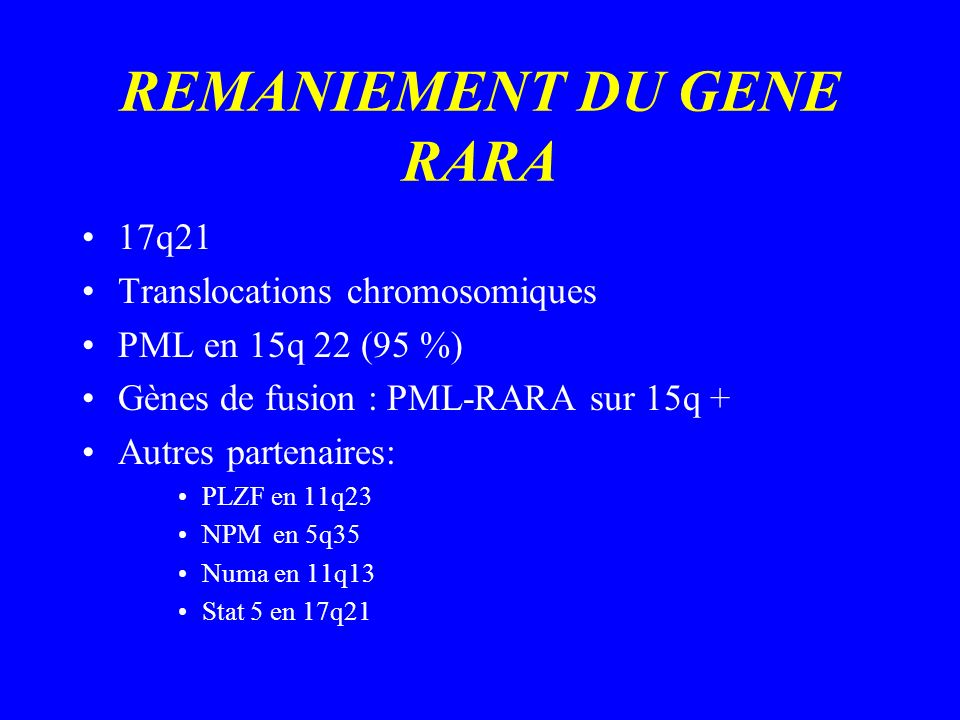 REMANIEMENT DU GENE RARA