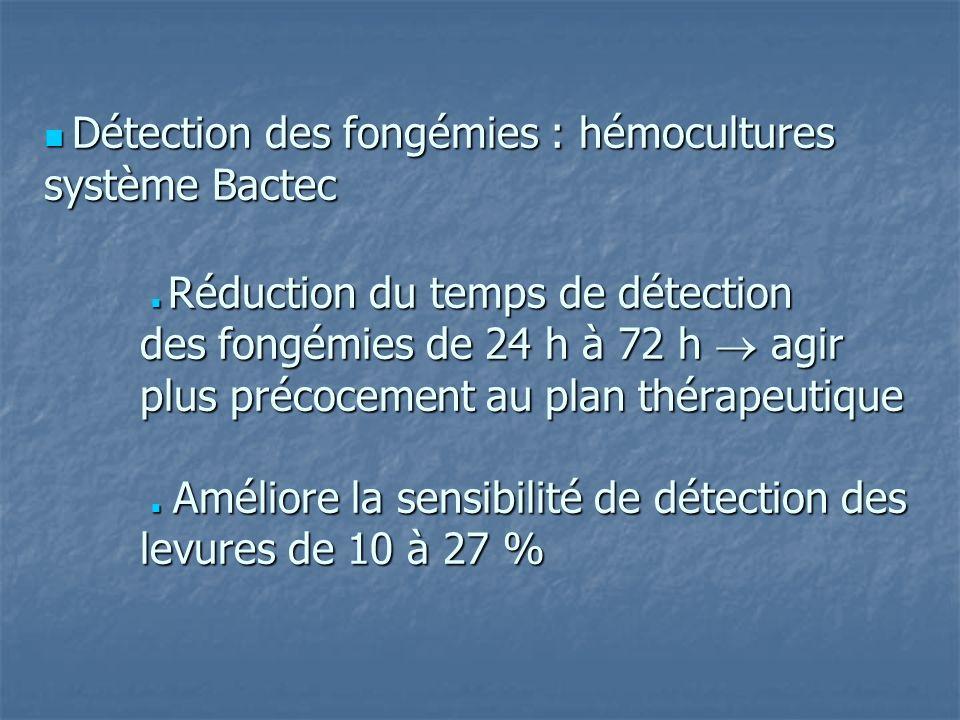  Détection des fongémies : hémocultures système Bactec  Réduction du temps de détection des fongémies de 24 h à 72 h  agir plus précocement au plan thérapeutique  Améliore la sensibilité de détection des levures de 10 à 27 %