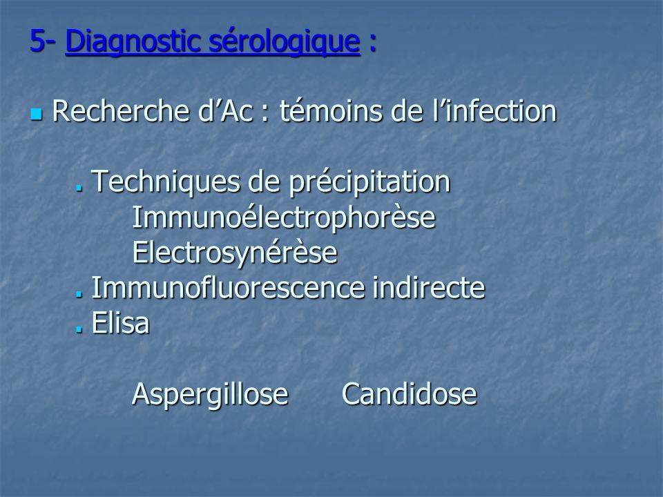 5- Diagnostic sérologique :  Recherche d'Ac : témoins de l'infection  Techniques de précipitation Immunoélectrophorèse Electrosynérèse  Immunofluorescence indirecte  Elisa Aspergillose Candidose