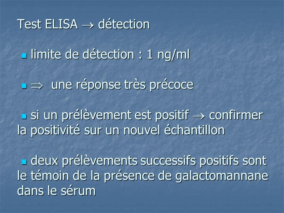 Test ELISA  détection  limite de détection : 1 ng/ml   une réponse très précoce  si un prélèvement est positif  confirmer la positivité sur un nouvel échantillon  deux prélèvements successifs positifs sont le témoin de la présence de galactomannane dans le sérum
