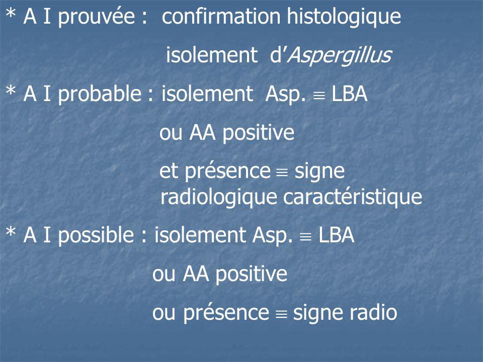* A I prouvée : confirmation histologique