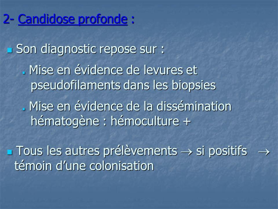 2- Candidose profonde :  Son diagnostic repose sur :  Mise en évidence de levures et pseudofilaments dans les biopsies  Mise en évidence de la dissémination hématogène : hémoculture +  Tous les autres prélèvements  si positifs   témoin d'une colonisation