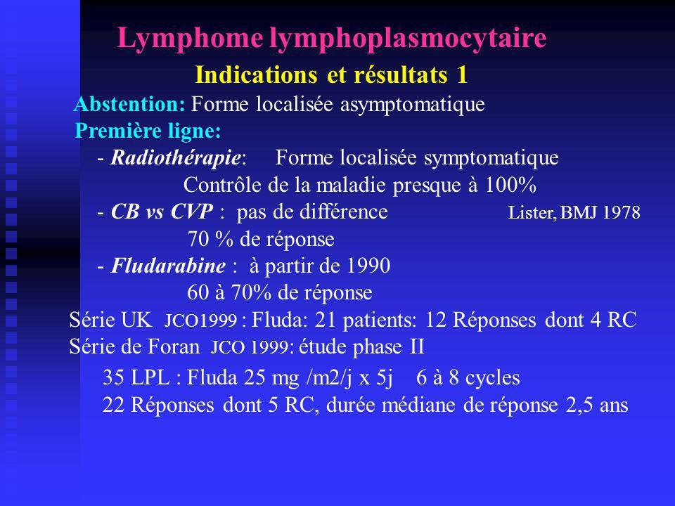 Lymphome lymphoplasmocytaire Indications et résultats 1
