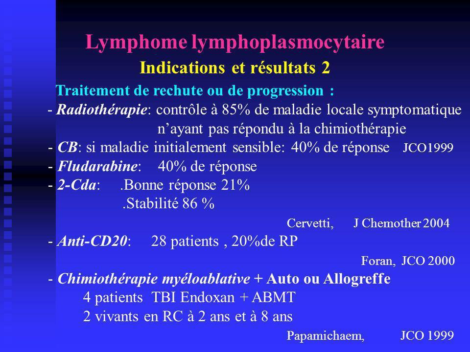 Lymphome lymphoplasmocytaire Indications et résultats 2