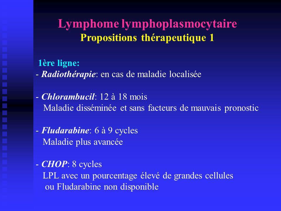 Lymphome lymphoplasmocytaire Propositions thérapeutique 1