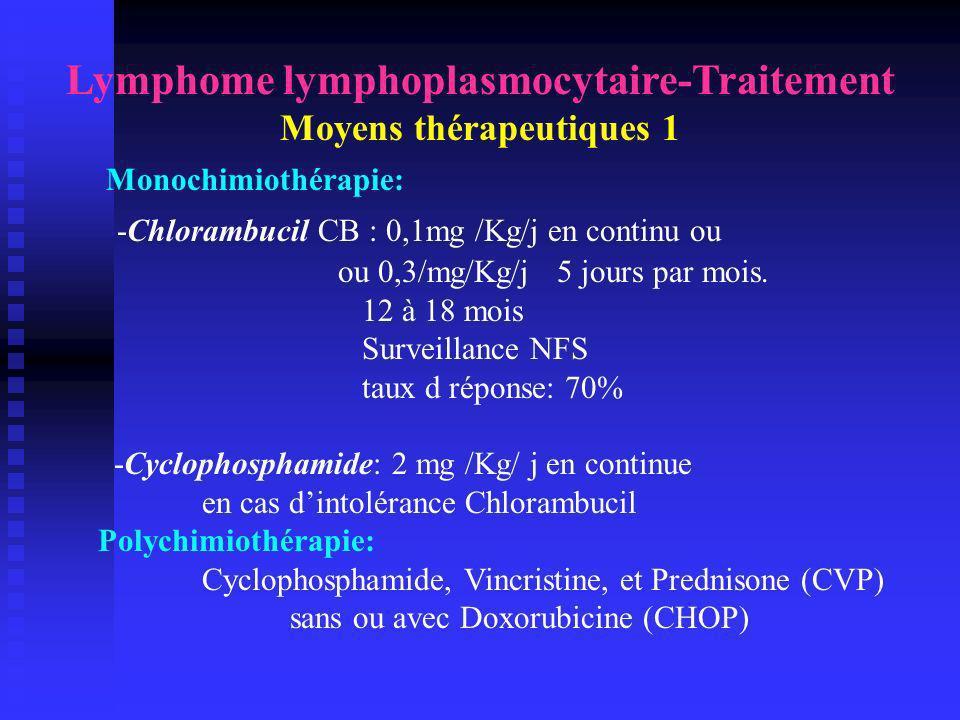 Lymphome lymphoplasmocytaire-Traitement Moyens thérapeutiques 1