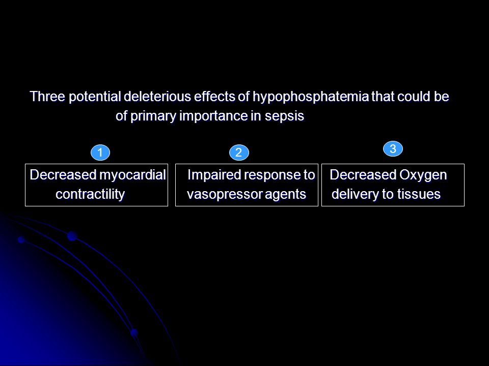 Three potential deleterious effects of hypophosphatemia that could be