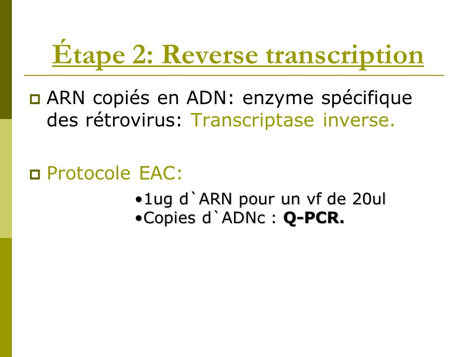 Étape 2: Reverse transcription