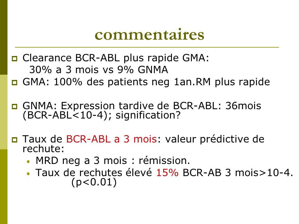 commentaires Clearance BCR-ABL plus rapide GMA: