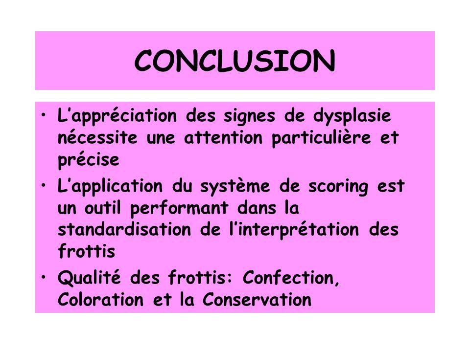 CONCLUSION L'appréciation des signes de dysplasie nécessite une attention particulière et précise.
