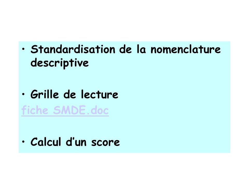 Standardisation de la nomenclature descriptive