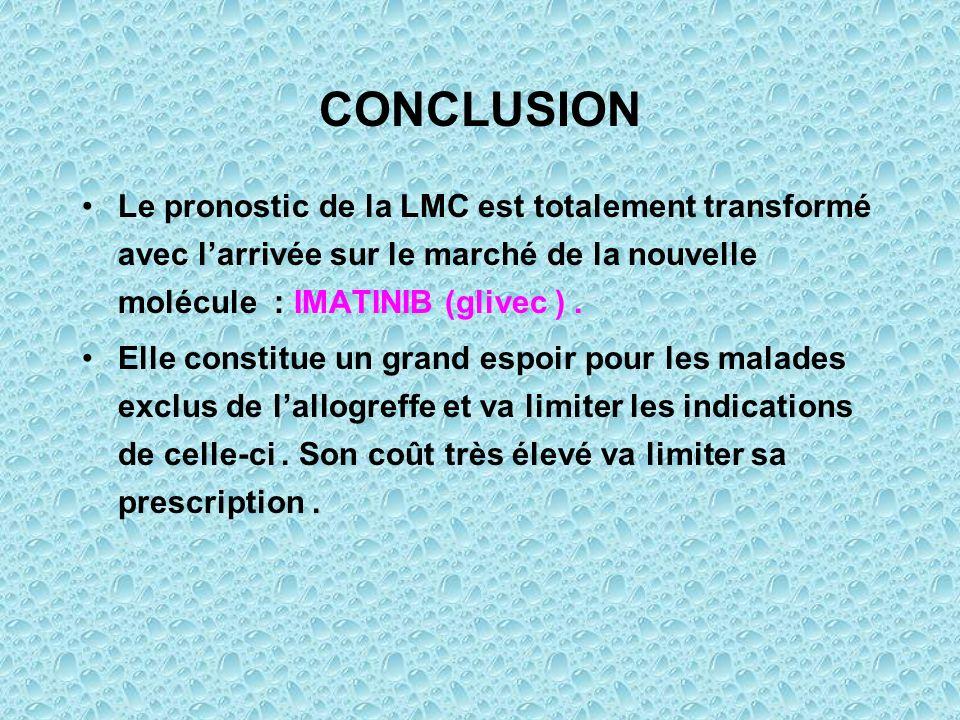 CONCLUSION Le pronostic de la LMC est totalement transformé avec l'arrivée sur le marché de la nouvelle molécule : IMATINIB (glivec ) .