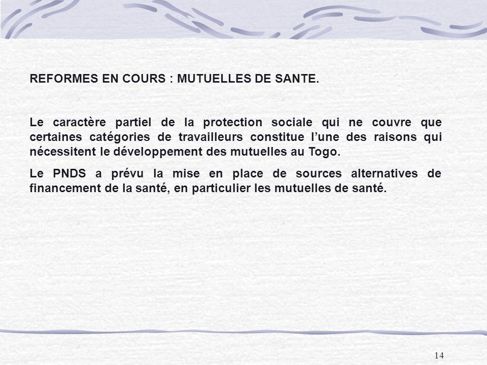 REFORMES EN COURS : MUTUELLES DE SANTE.