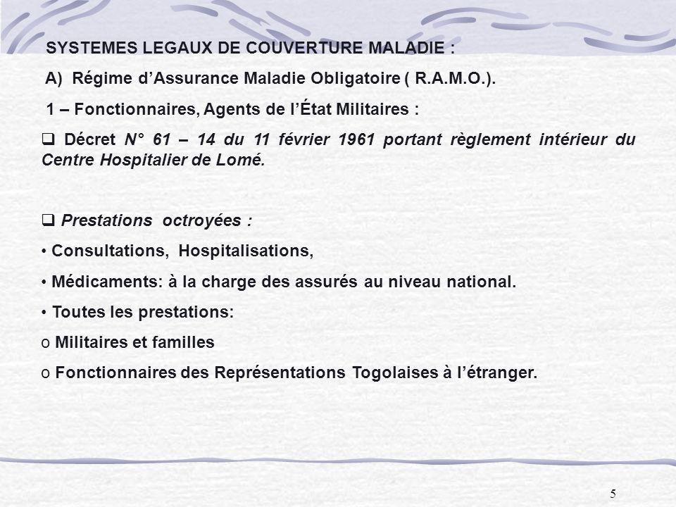 SYSTEMES LEGAUX DE COUVERTURE MALADIE :