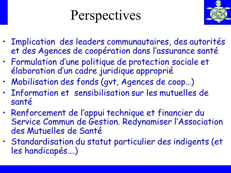 Perspectives Implication des leaders communautaires, des autorités et des Agences de coopération dans l'assurance santé.