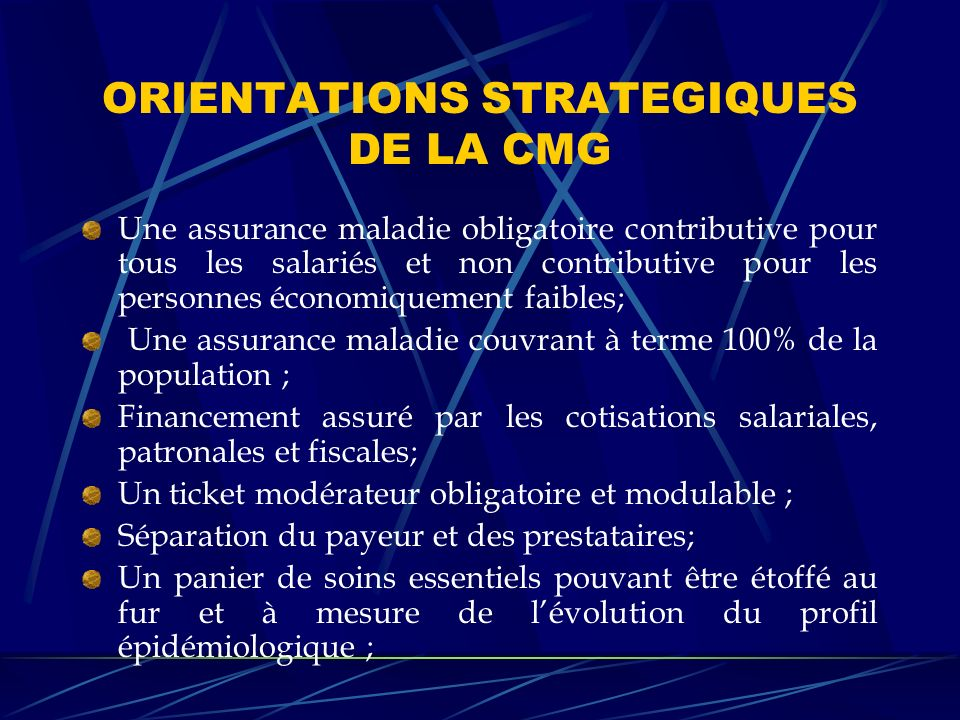 ORIENTATIONS STRATEGIQUES DE LA CMG