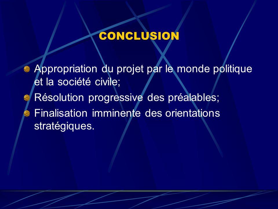 CONCLUSION Appropriation du projet par le monde politique et la société civile; Résolution progressive des préalables;