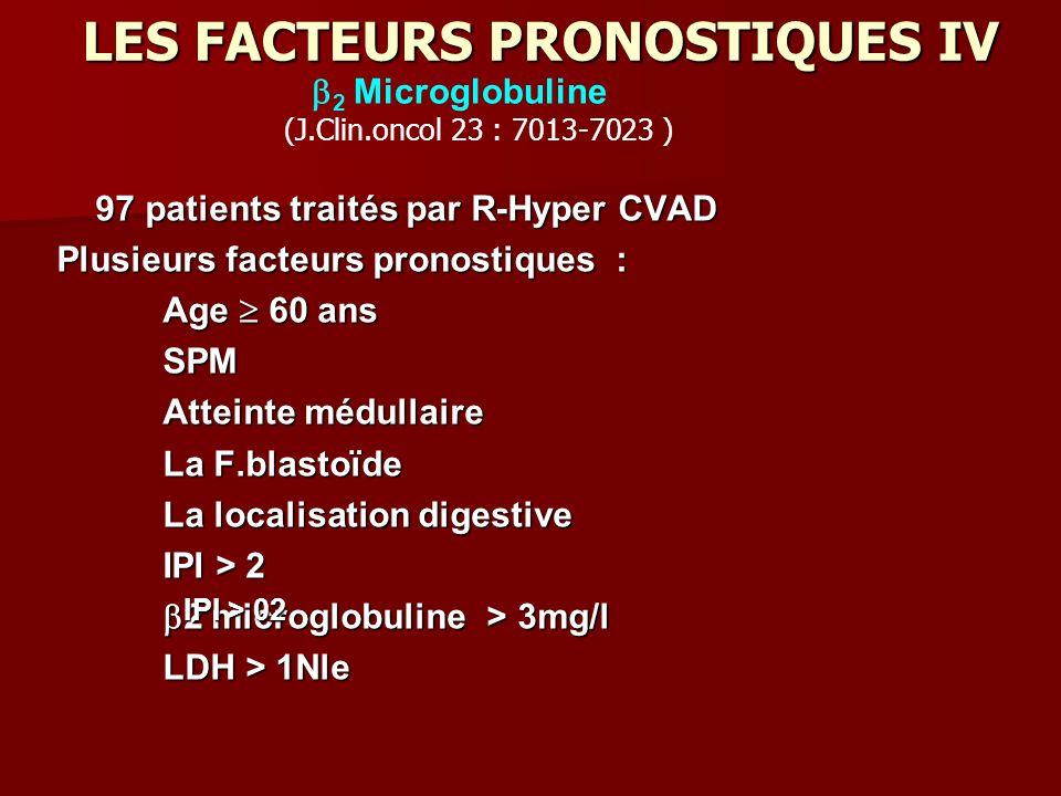 LES FACTEURS PRONOSTIQUES IV