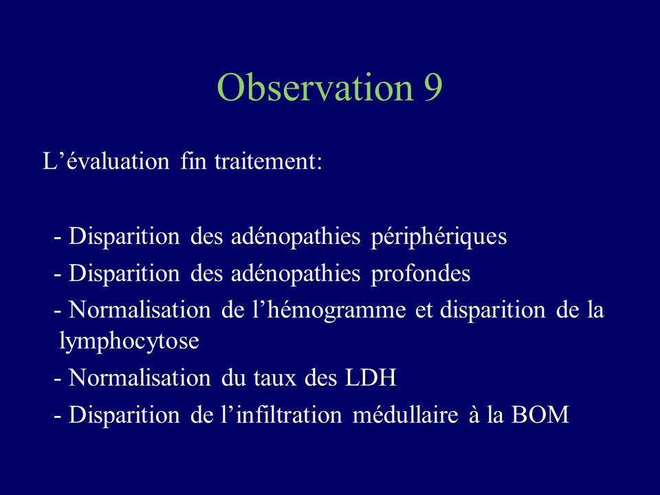 Observation 9 L'évaluation fin traitement: