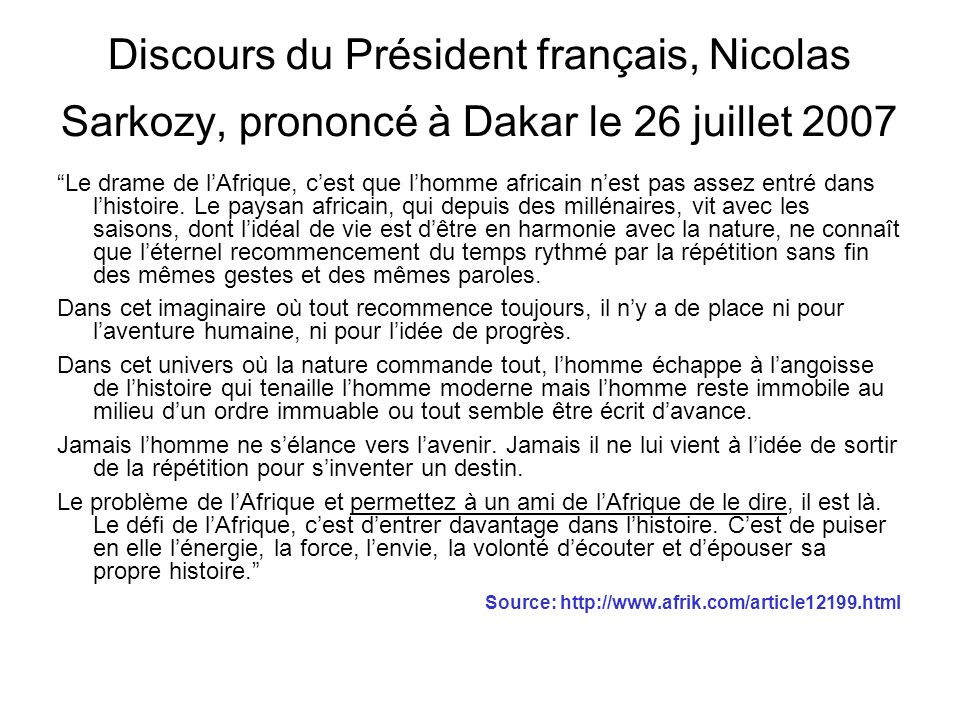 Discours du Président français, Nicolas Sarkozy, prononcé à Dakar le 26 juillet 2007