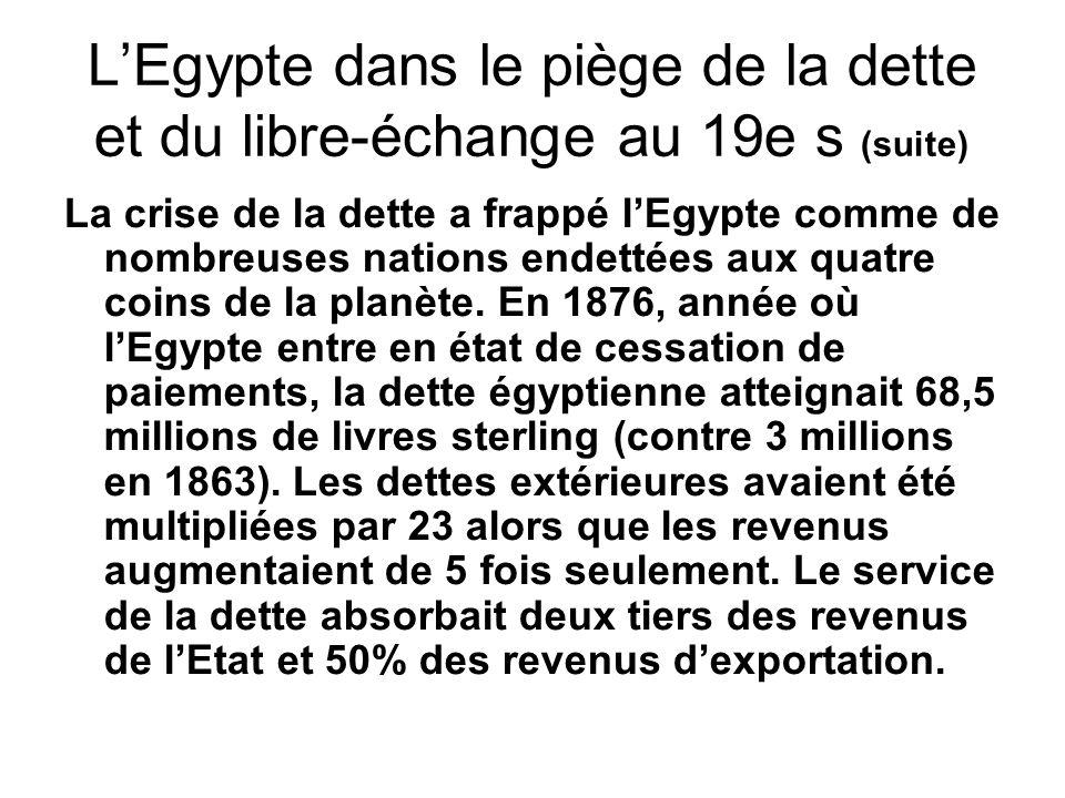 L'Egypte dans le piège de la dette et du libre-échange au 19e s (suite)