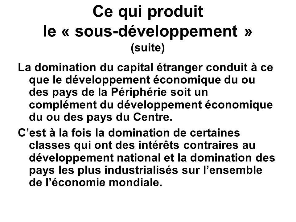 Ce qui produit le « sous-développement » (suite)