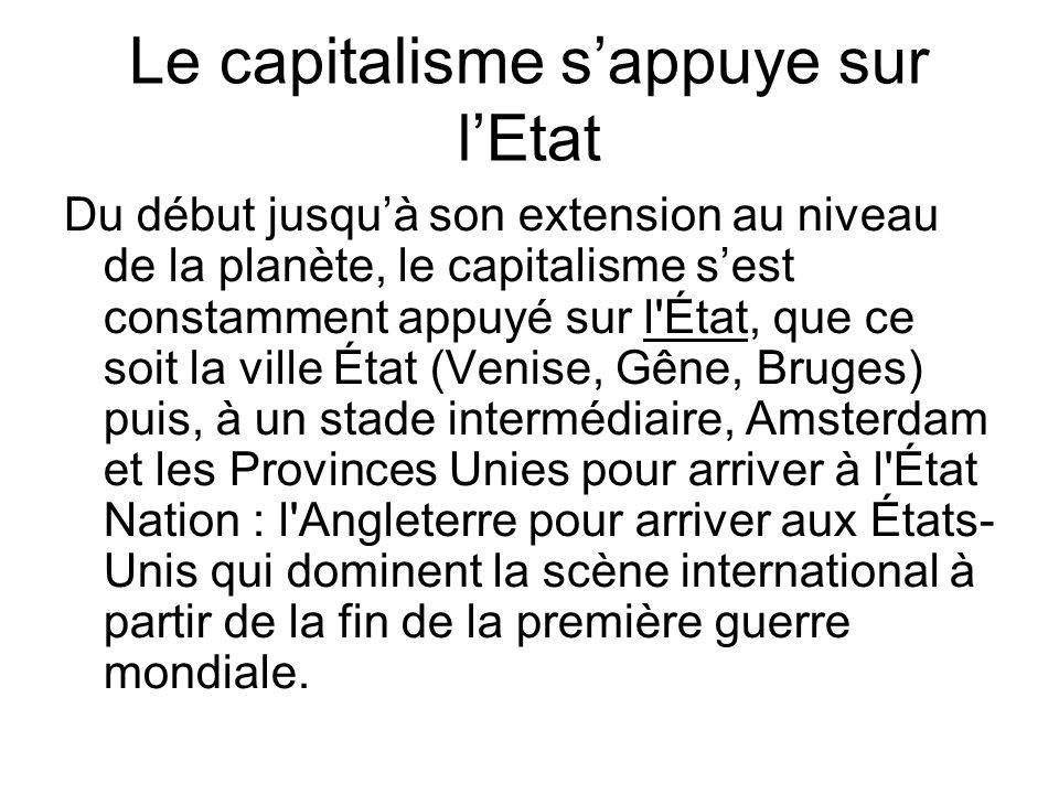 Le capitalisme s'appuye sur l'Etat