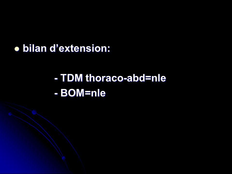 bilan d'extension: - TDM thoraco-abd=nle - BOM=nle