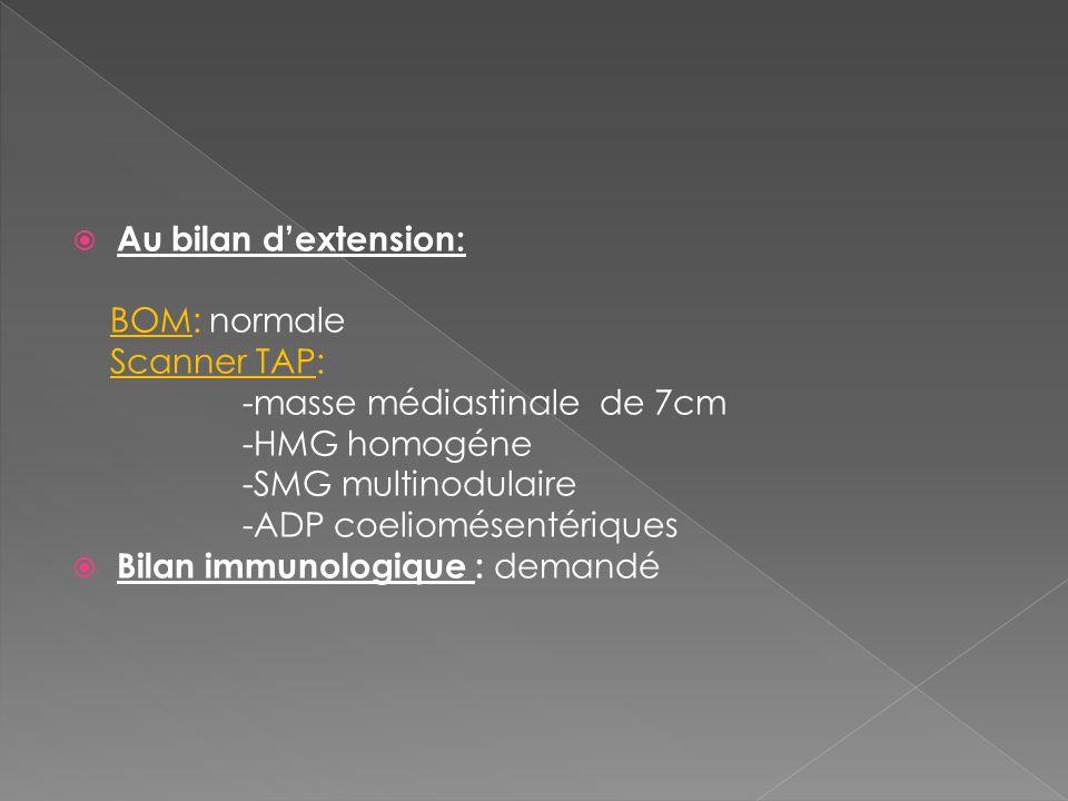 Au bilan d'extension: BOM: normale. Scanner TAP: -masse médiastinale de 7cm. -HMG homogéne. -SMG multinodulaire.